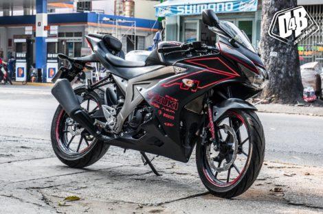 bs suzuki gsx r150 đen xước đỏ phản quang